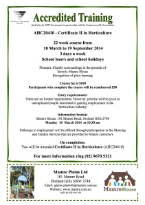 Horticulture Course Flyer